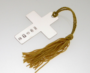 Silver Cross Bookmark with Tassle