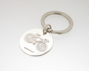 Round Silver Bicycle Keyring