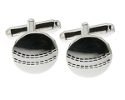 View Silver Cricket ball cufflinks in detail